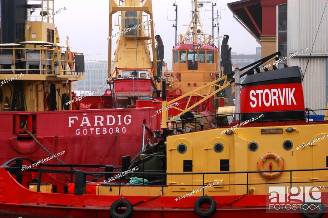 Stock Photo: Ships in the harbour at Gothenburg Goteborg Sweden.
