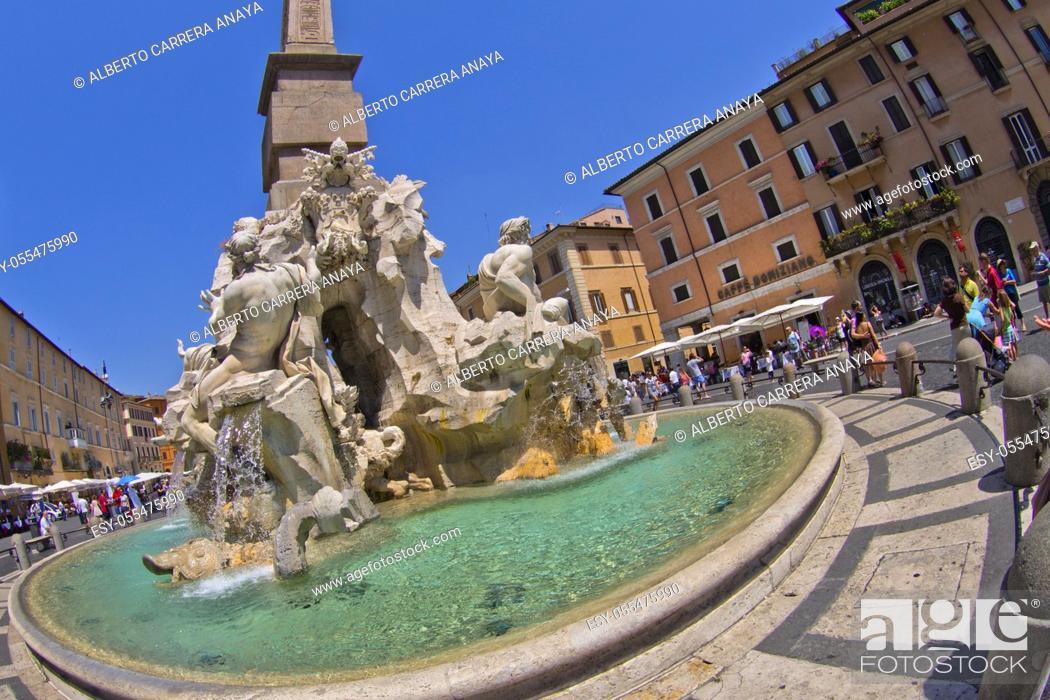 Stock Photo: Fountain of the four Rivers, Fontana dei Quattro Fiumi, Egyptian Obelisk, Piazza Navona, Rome, Lazio, Italy, Europe.