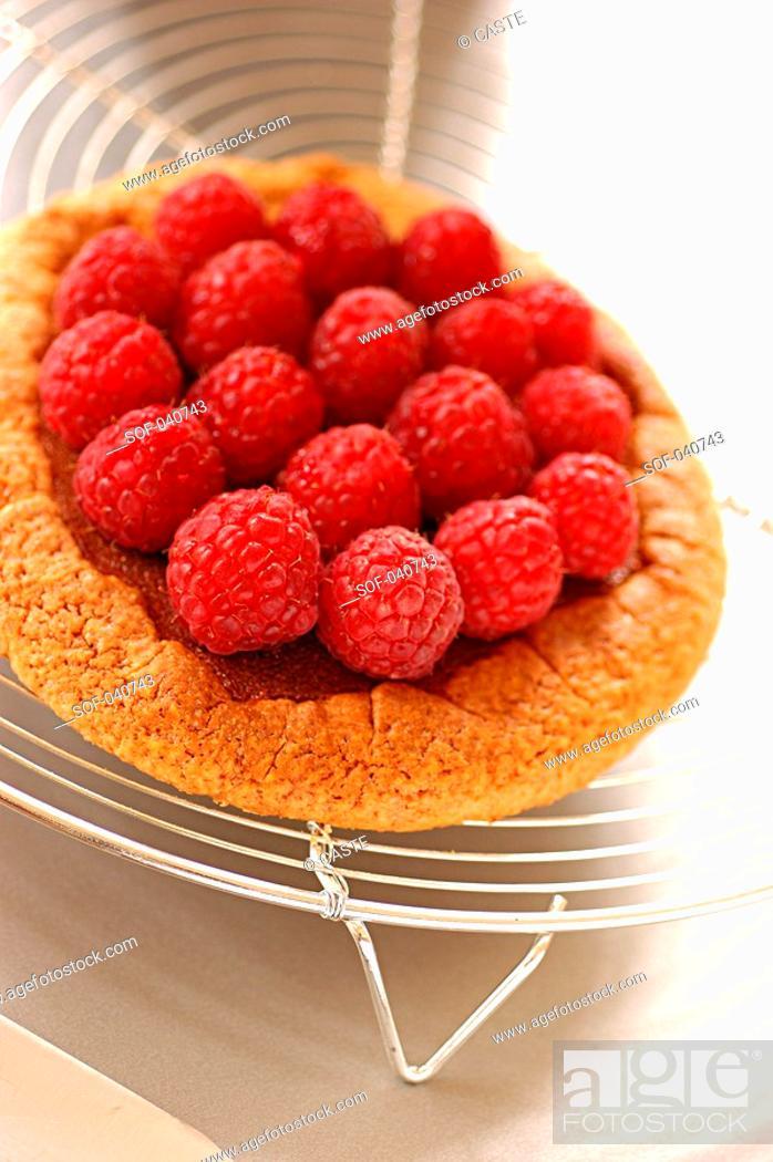 Stock Photo: mini raspberry tart.