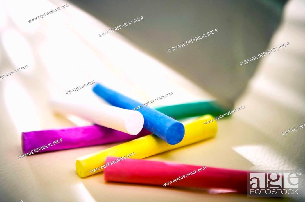 Stock Photo: coloful chalk.