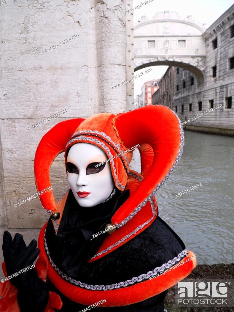 Stock Photo: Masked woman in Carnival or Carnevale in Venice Italy.