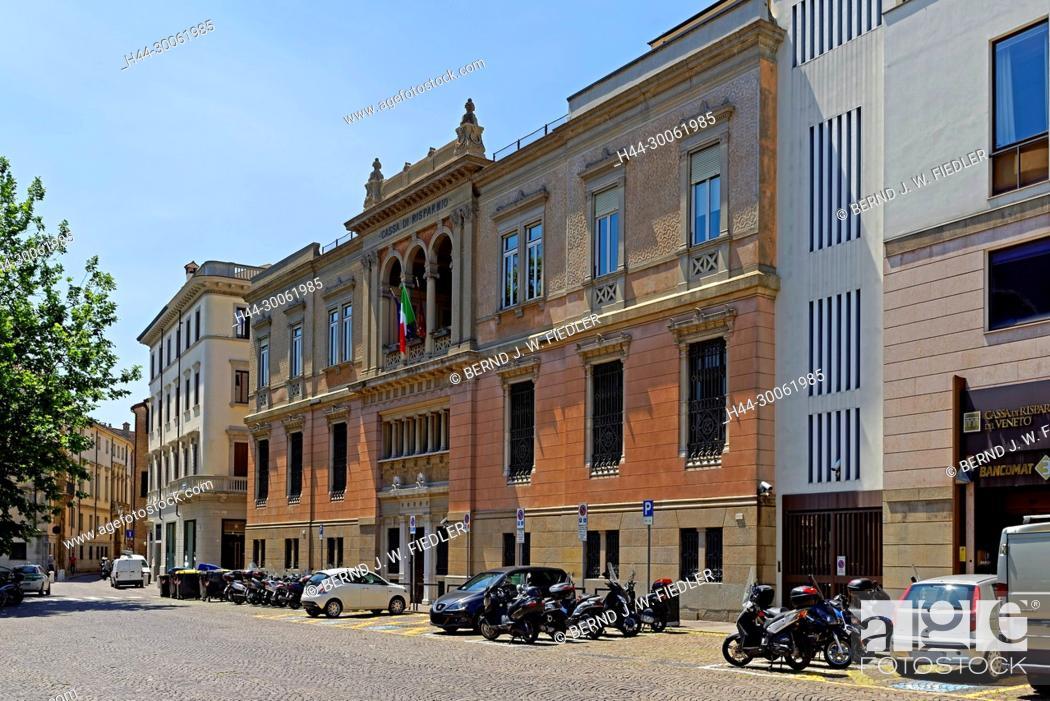 Stock Photo: Europe, Italy, Veneto Veneto, Padua, Padova, Piazza Eremitani, street view, trees, plants, place of interest, tourism, architecture, street, fence, vehicles.