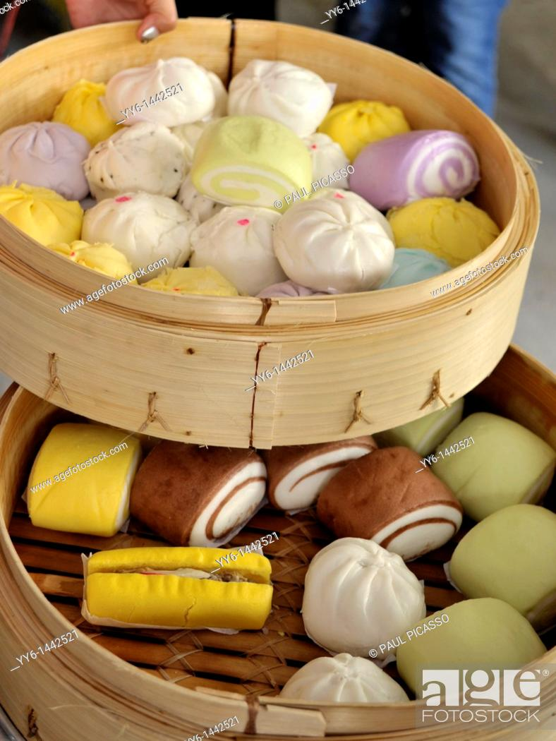 Stock Photo: chinese dumplings and colourful buns, chinese delicacy, chinatown , bangkok, thailand.