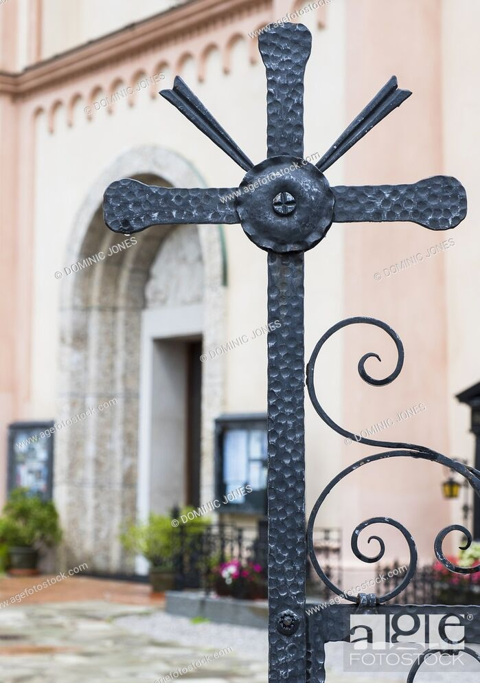 Stock Photo: Gate cross detail of Radstadt Church, Radstadt, Austria, Europe.
