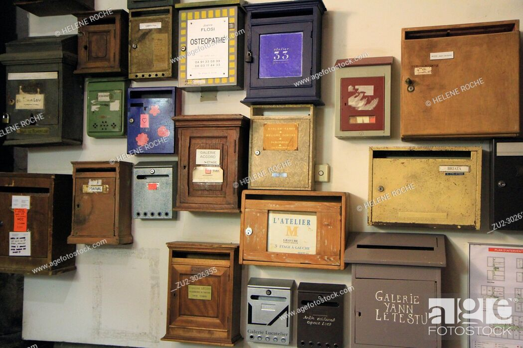 Stock Photo: A wall of vintage letter boxes, Marseille, Provence, France.