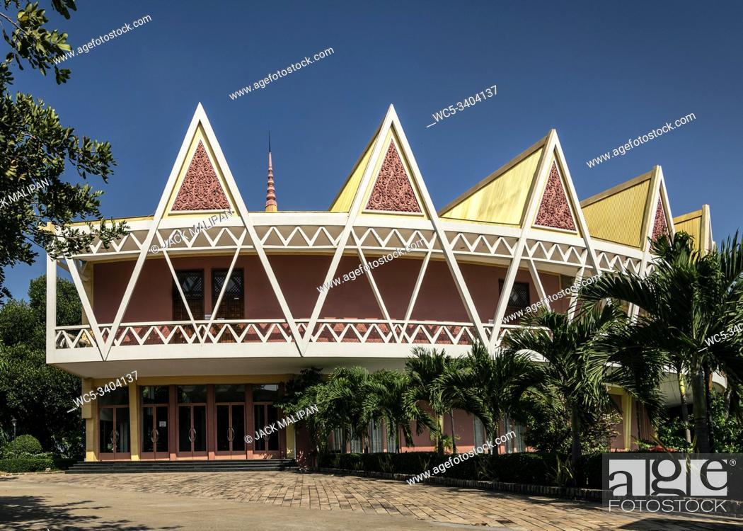 Stock Photo: Chaktomuk Conference Hall architecture landmark building in phnom penh city cambodia.