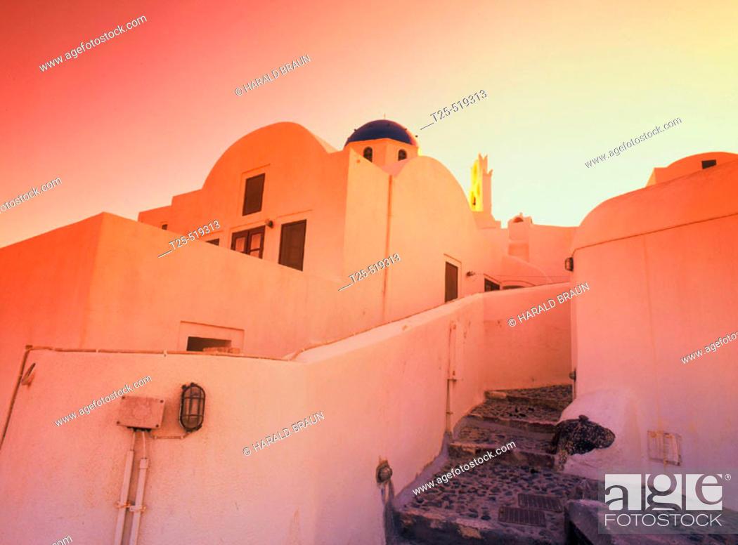 Stock Photo: Sunrise, Oia, Santorini, Cyclades, Greece.