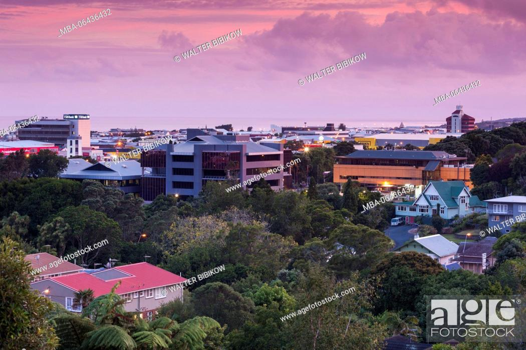 Stock Photo: New Zealand, North Island, New Plymouth, elevated skyline view, dawn.