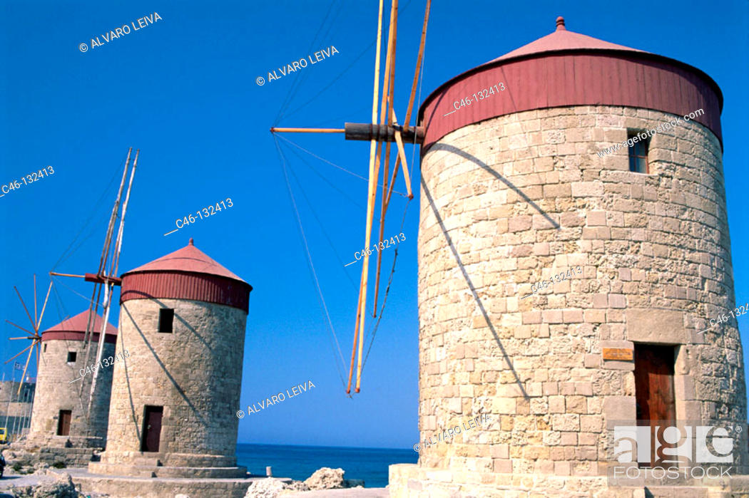 Photo de stock: Windmills. Mandraki Port. Rhodes. Greece.