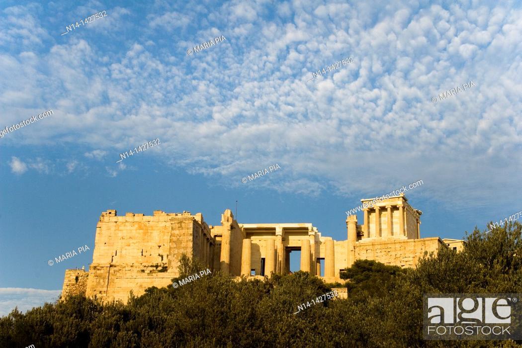 Stock Photo: Entrance to the Acropolis, Temple of Athena Nike right, Athens, Greece.