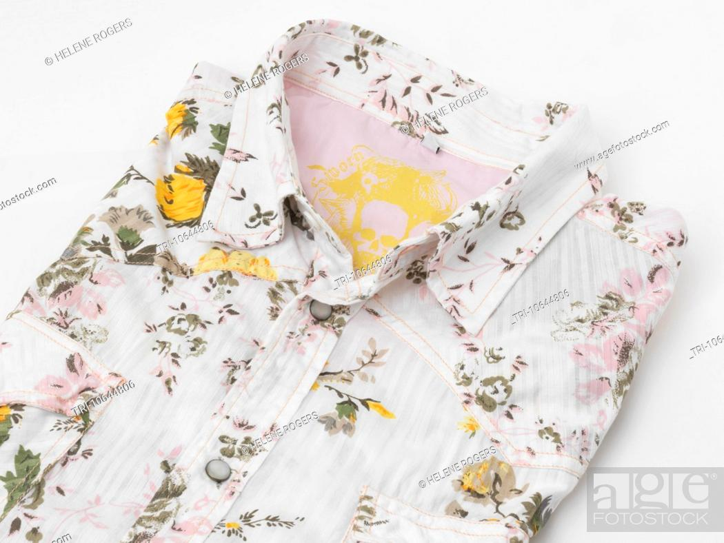 Stock Photo: Floral Shirt Folded.