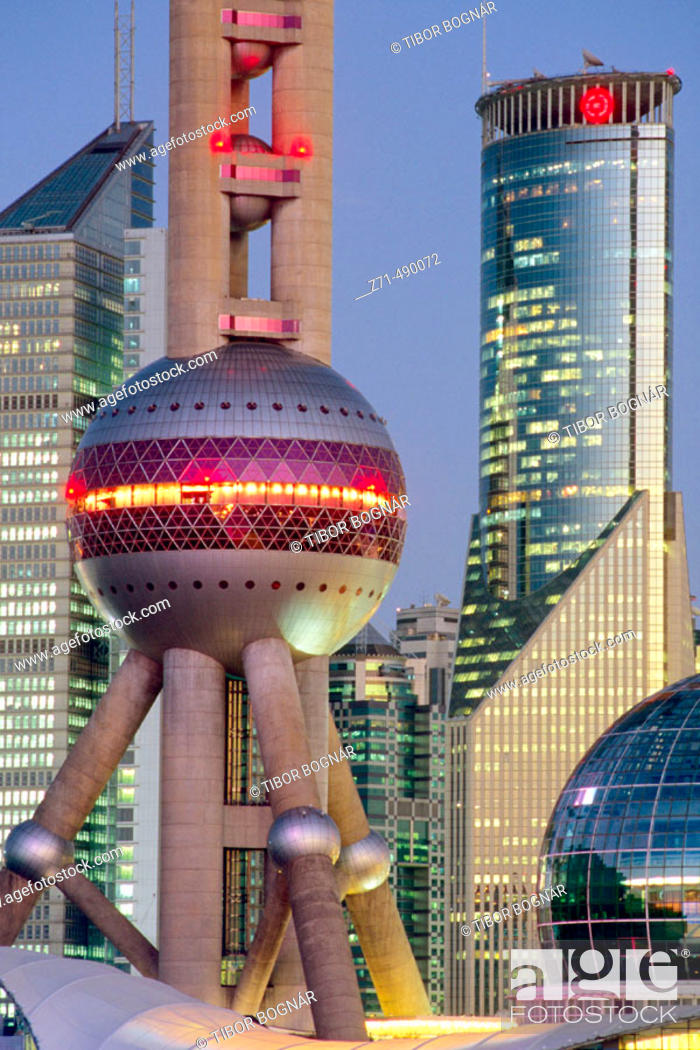 Stock Photo: The Orient Pearl TV Tower in Pudong business district, Shanghai. China.