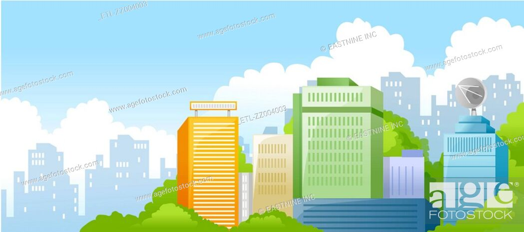 Stock Photo: Buildings in a city.