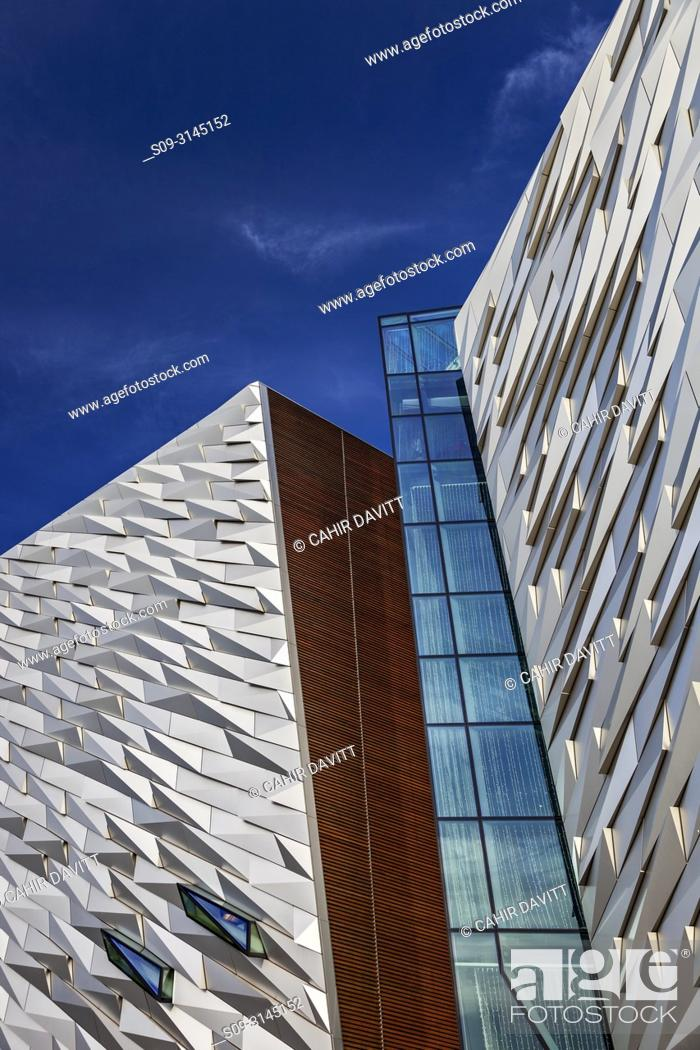 Stock Photo: Facade cladding detail of the Titanic Maritime Museum designed by the architects Eric Kuhne and Associates, Titanic Quarter, Belfast, Co.