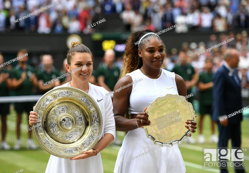 Stock Photo: (190713) -- LONDON, July 13, 2019 (Xinhua) -- Simona Halep (L) of Romania and Serena Williams of the United States pose for photos after the women's singles.