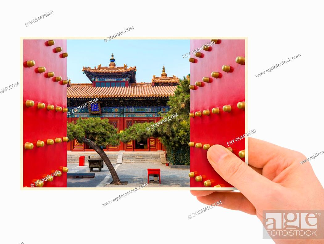 Photo de stock: Hand and Lama Yonghe Temple in Beijing China (my photo) isolated on white background.