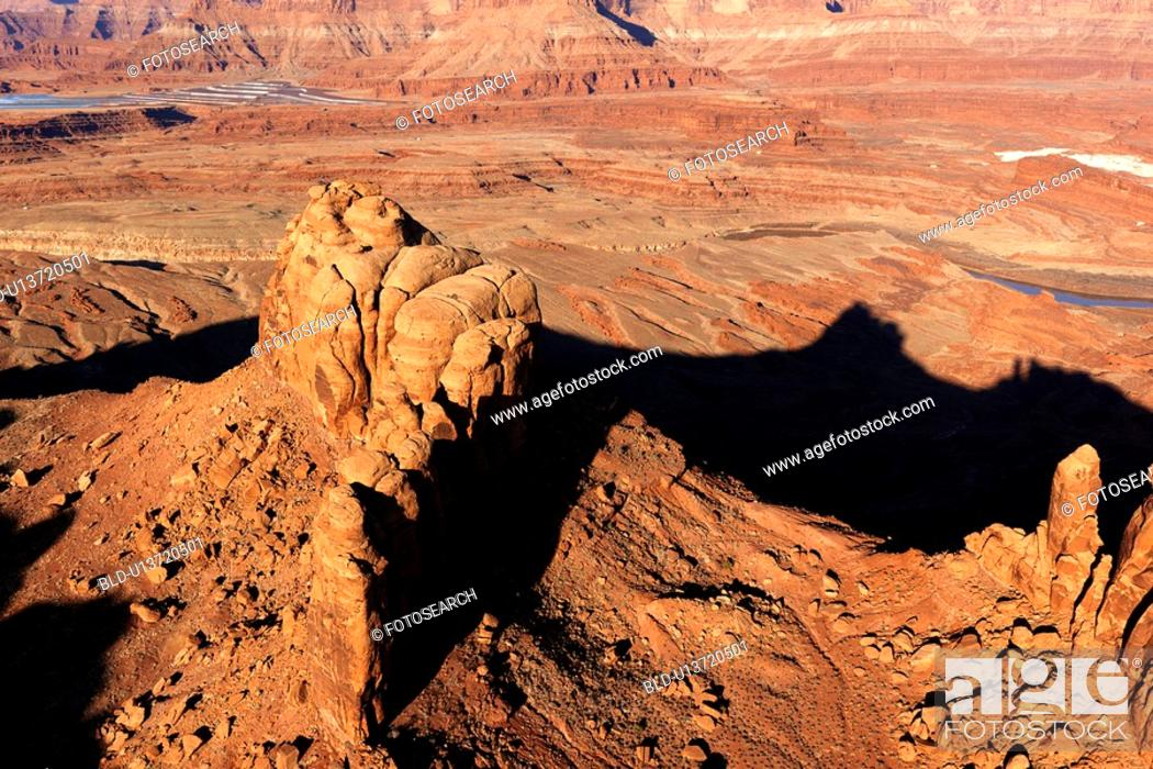 Stock Photo: Aerial landscape of rock formations in Canyonlands National Park, Utah, United States.