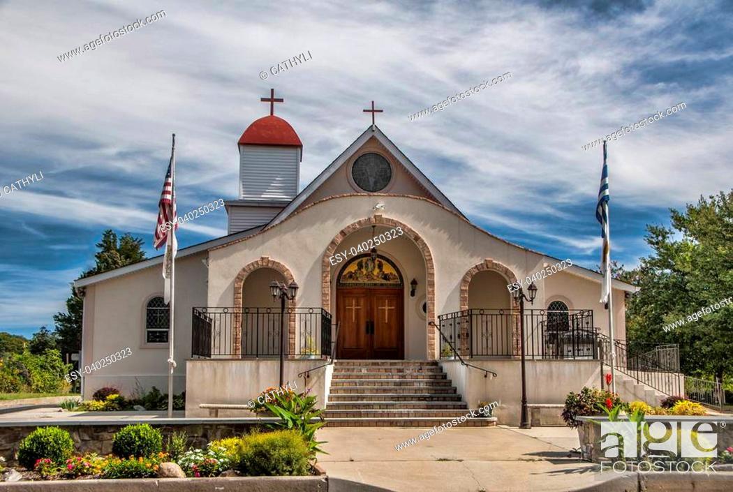 Stock Photo: A small church along the back roads in Mattituck, LI.