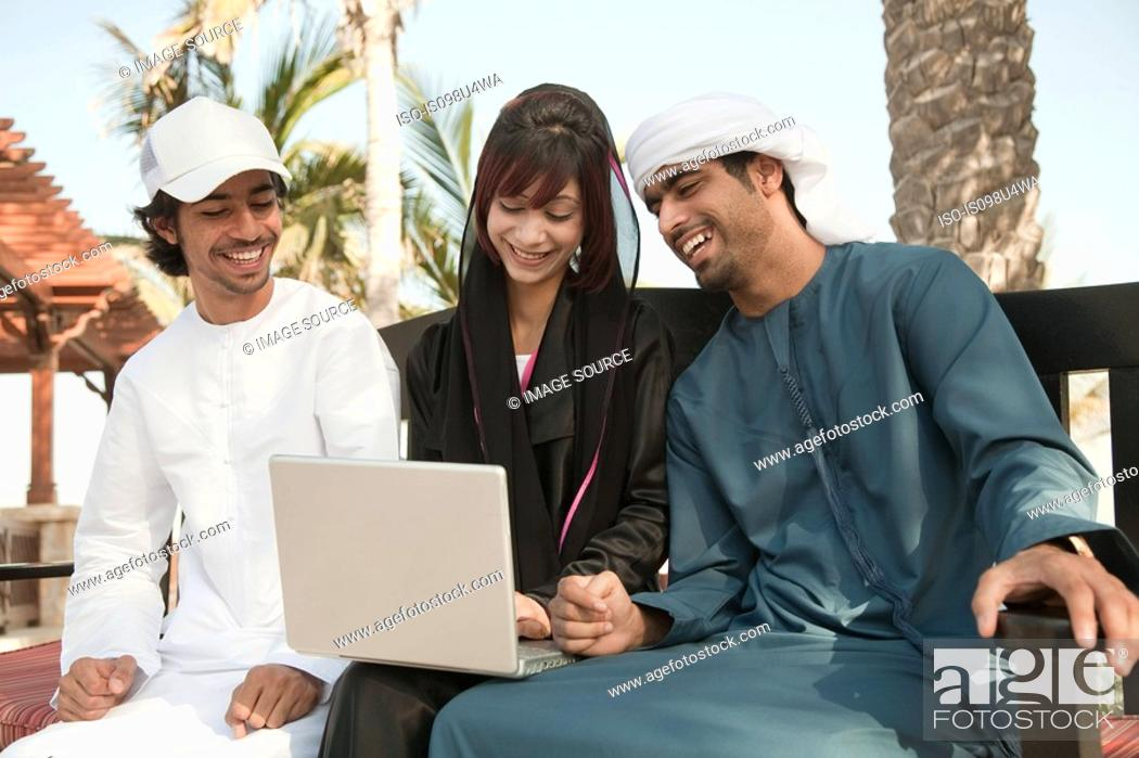 Stock Photo: Middle Eastern people using laptop.