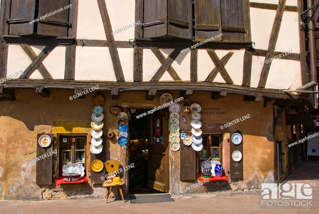Stock Photo: Timbered Houses Place B. Zix, Strasbourg, Alsace, France.