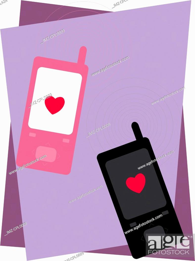 Stock Photo: Two cell phones with hearts on them.