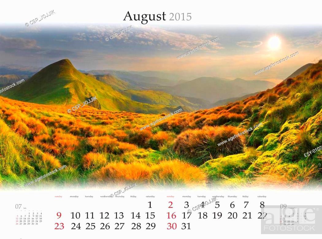 Stock Photo: Calendar 2015. August. Beautiful sunrise landscape in the mounta.