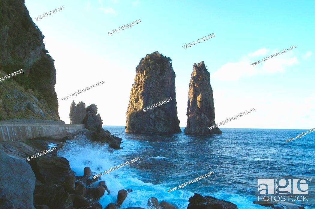Stock Photo: landscape, island, scenery, natural, rock, sky.