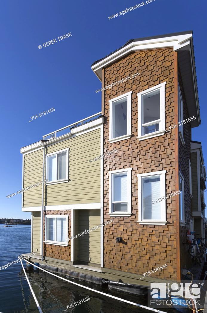 Imagen: North America, Canada, British Columbia, Vancouver Island, Victoria, House Boats, Fisherman's Wharf.