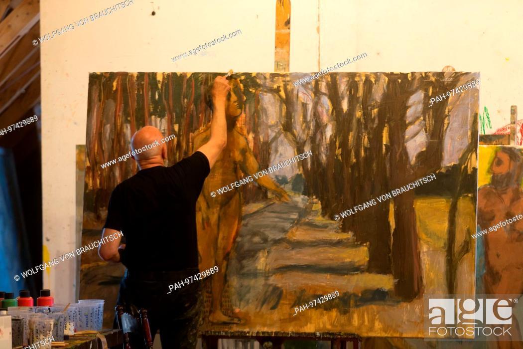Famous German artist Markus Luepertz in his studio in Maerkisch