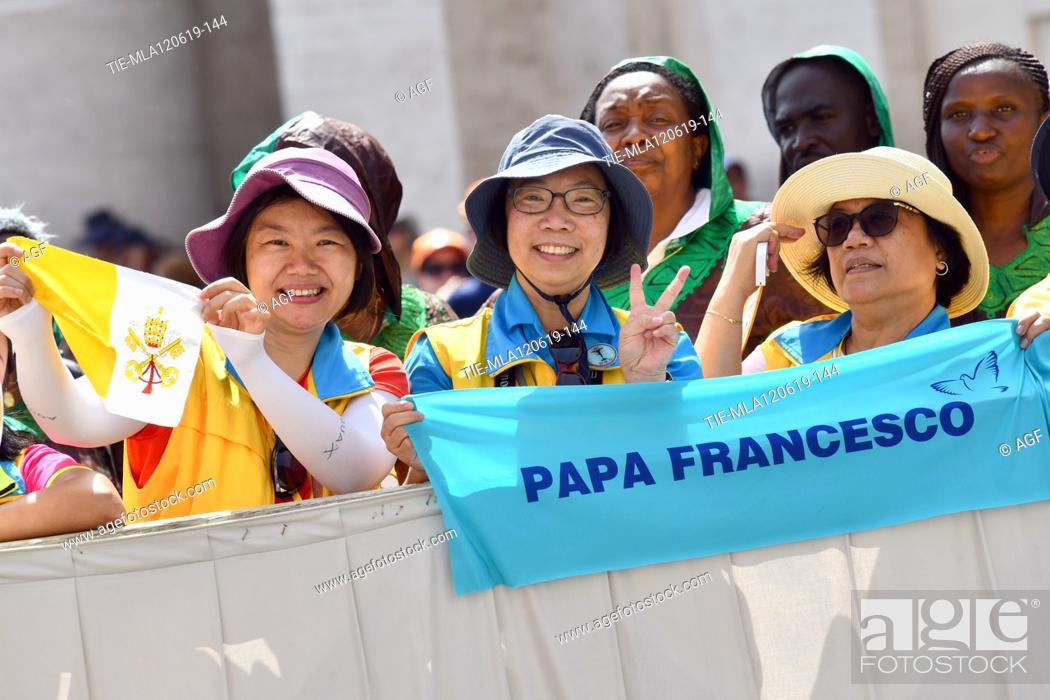 Stock Photo: faithful during weekly general audience, Vatican City, Italy - 12 Jun 2019.