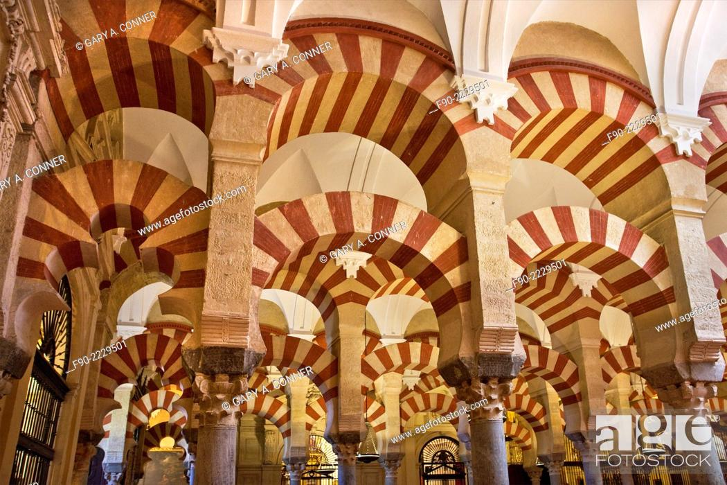 Stock Photo: Interior arches, Mosque-Cathedral 8th century, Old Quarter, Cordoba, Spain.