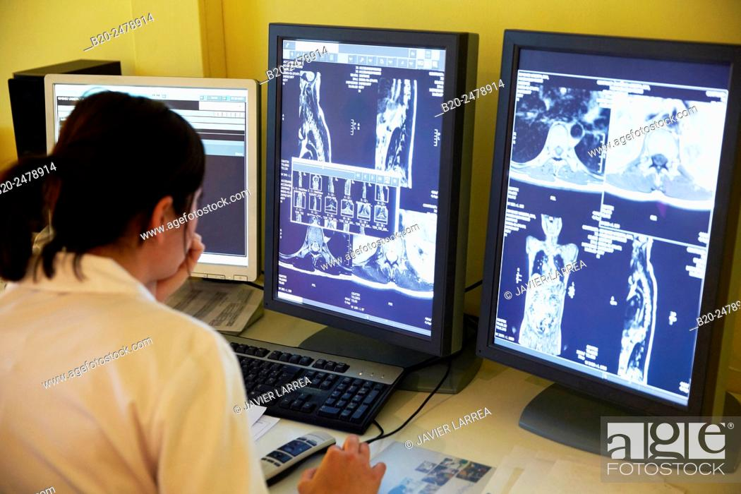Stock Photo: MRI scan, NMR (Nuclear Magnetic Resonance), medical imaging for diagnosis, Hospital Donostia, San Sebastian, Gipuzkoa, Basque Country, Spain.