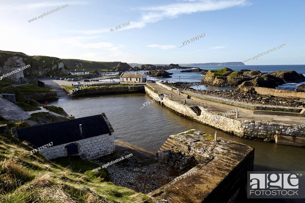 Stock Photo: Ballintoy Harbour county antrim northern ireland used in Game of Thrones as the filming location for the Iron Islands.