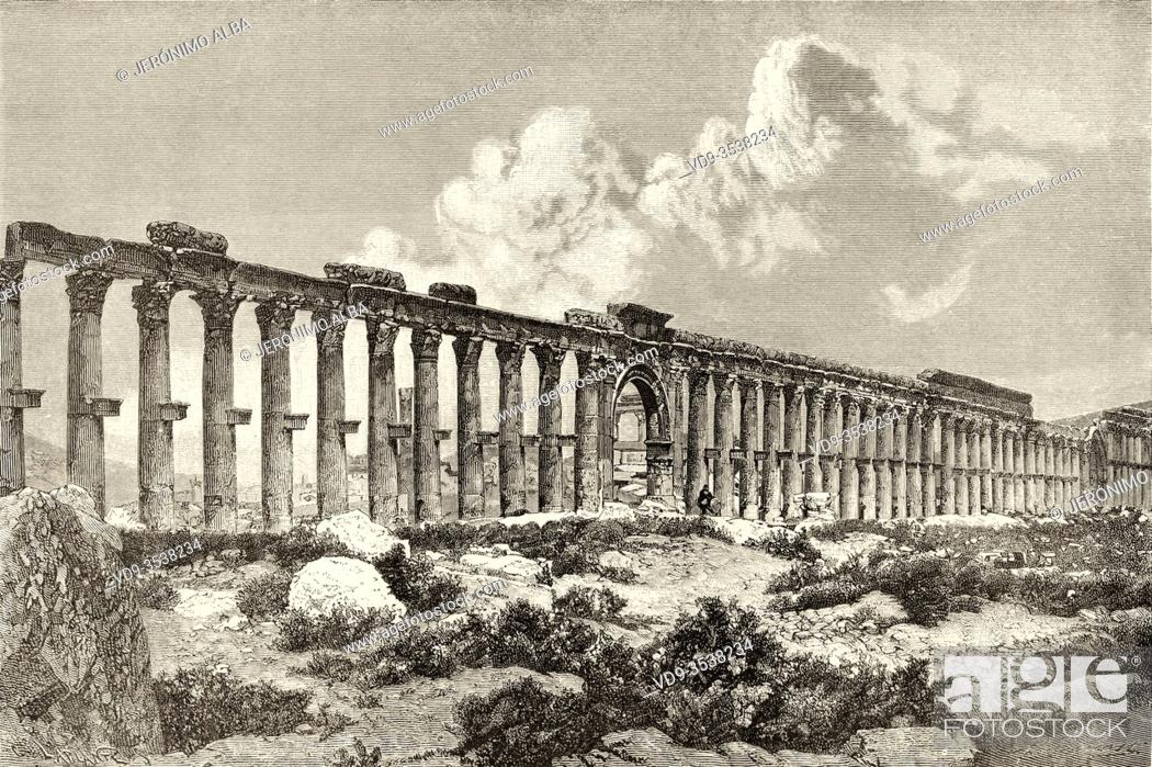 Photo de stock: Colonnade of the Decumanus Maximus, archaeological site of Palmyra, Syria. Middle East, Journey to Palmyra 1872, by Lydia Paschkoff.