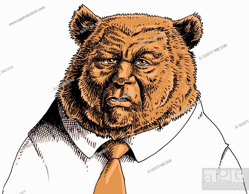 Stock Photo: Businessman with bears head.