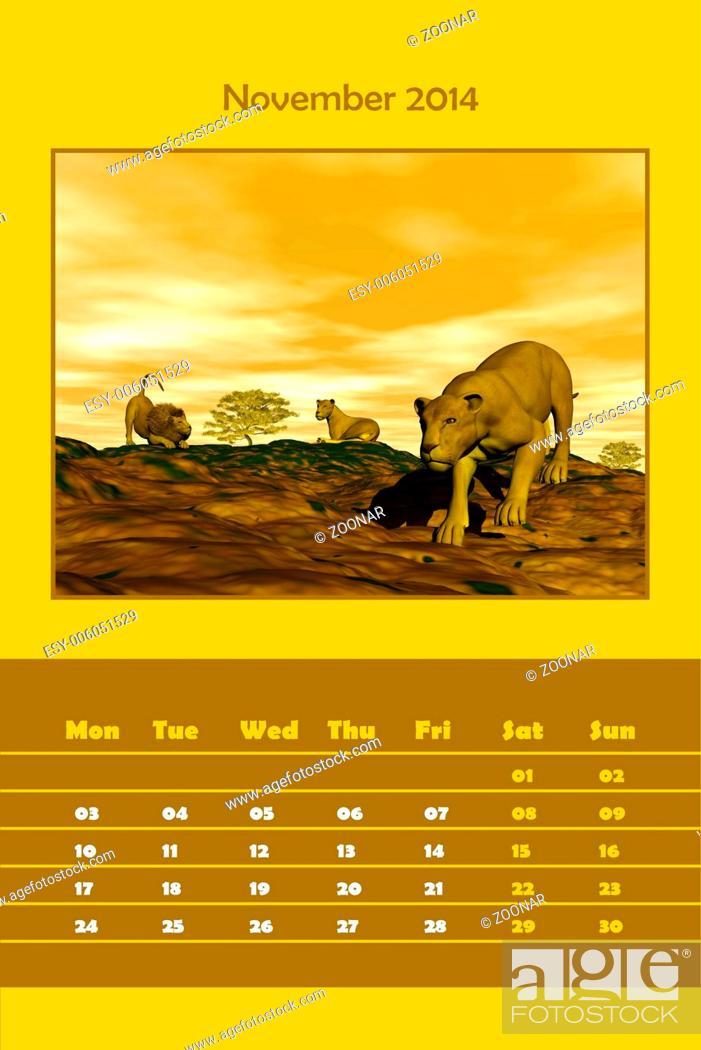 Stock Photo: Safari calendar for 2014 - november.