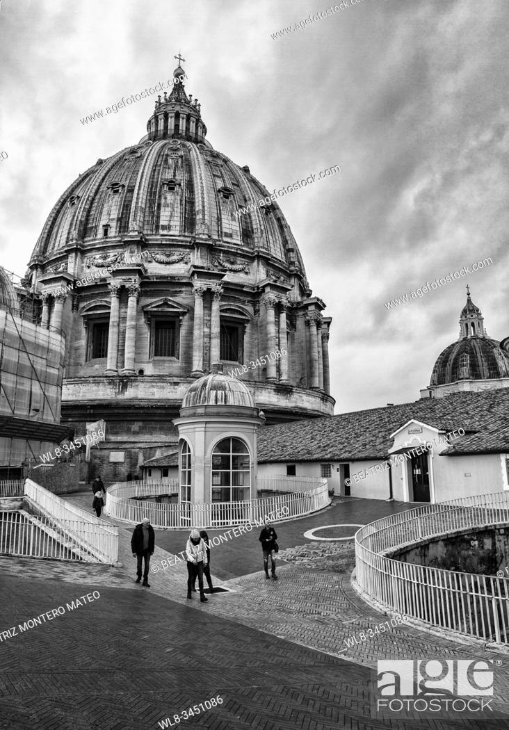 Stock Photo: Dome of St. Peter's Basilica in the Vatican City in Rome (Italy) in black adn white.