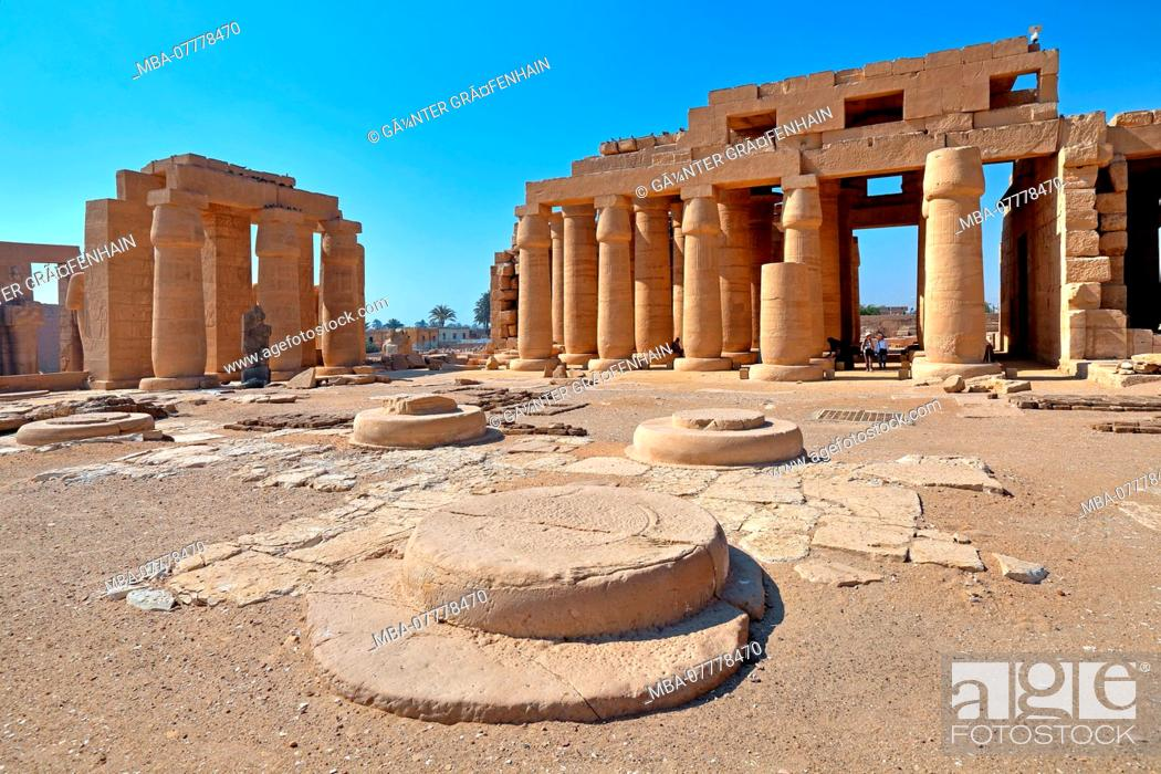 Stock Photo: Ramesseum, Temple of the Dead of Ramses II in Thebes-West, Luxor, Upper Egypt, Egypt.