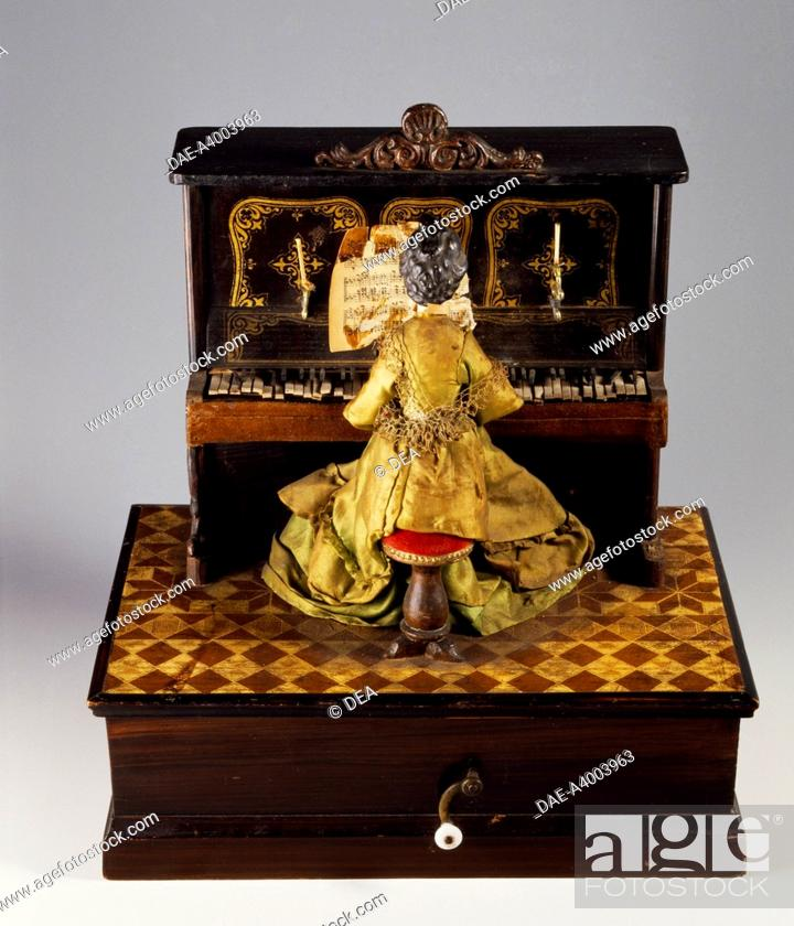 Stock Photo: Pianist, music box, 1850-1900.  Milan, Museo Del Giocattolo E Del Bambino (Toys Museum).