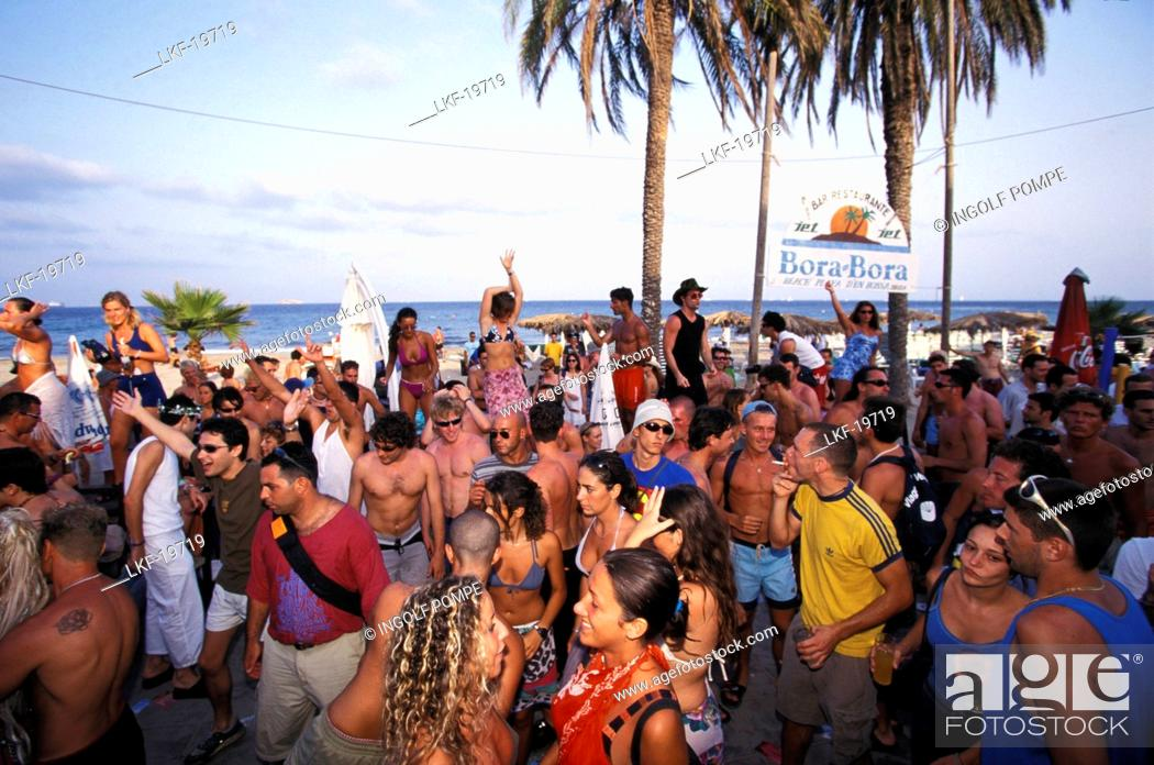 Young People Partying In Der Bora Beach Disco Club Playa D