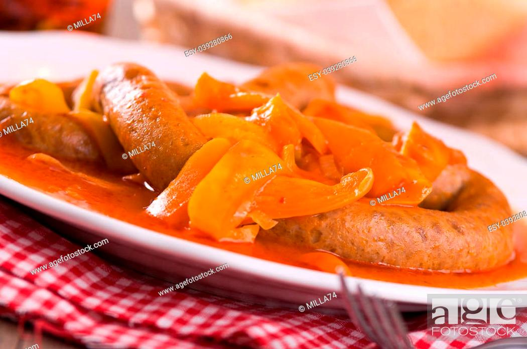 Stock Photo: Sausage and peppers.