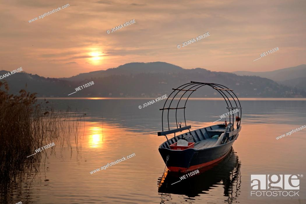 Stock Photo: sunset at the Lake Maggiore in Italy.
