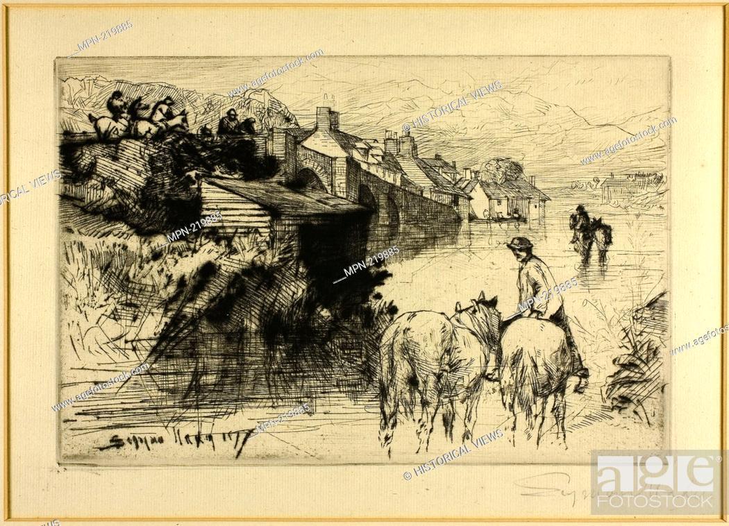 Stock Photo: Wareham Bridge - 1877 - Francis Seymour Haden English, 1818-1910 - Artist: Francis Seymour Haden, Origin: England, Date: 1877.