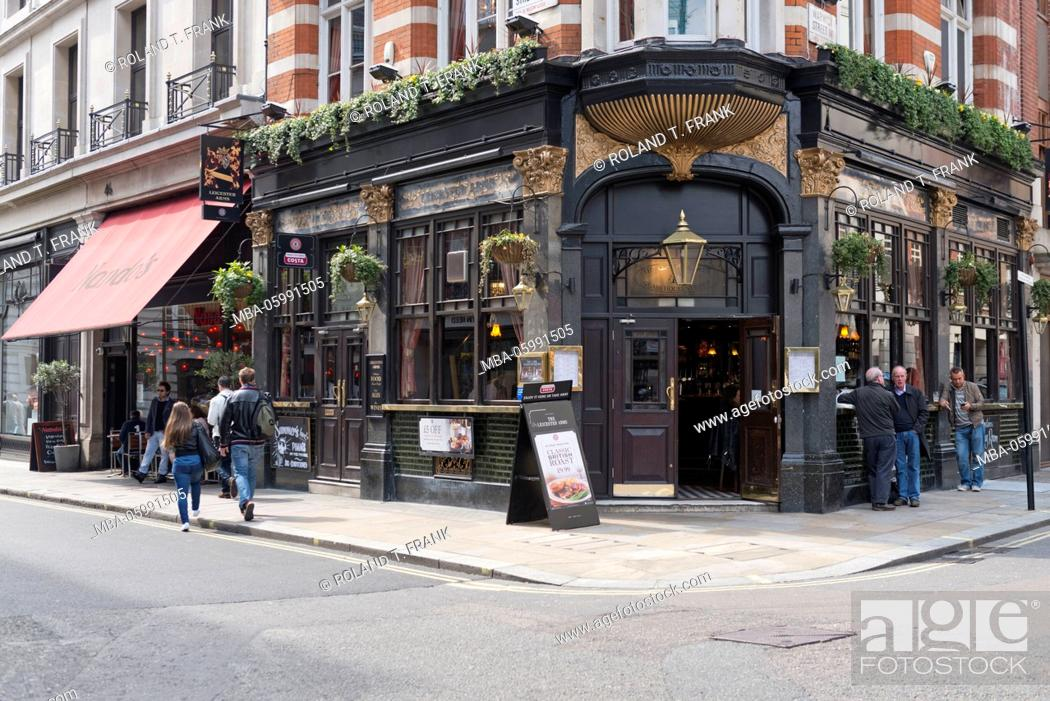 Stock Photo: England, London, Westminster, Glasshouse Street, Leicester arms pub.
