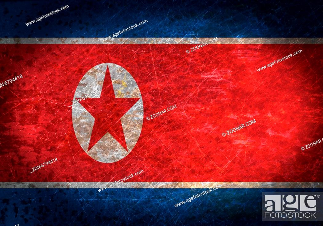 Imagen: Old rusty metal sign with a flag - North Korea.