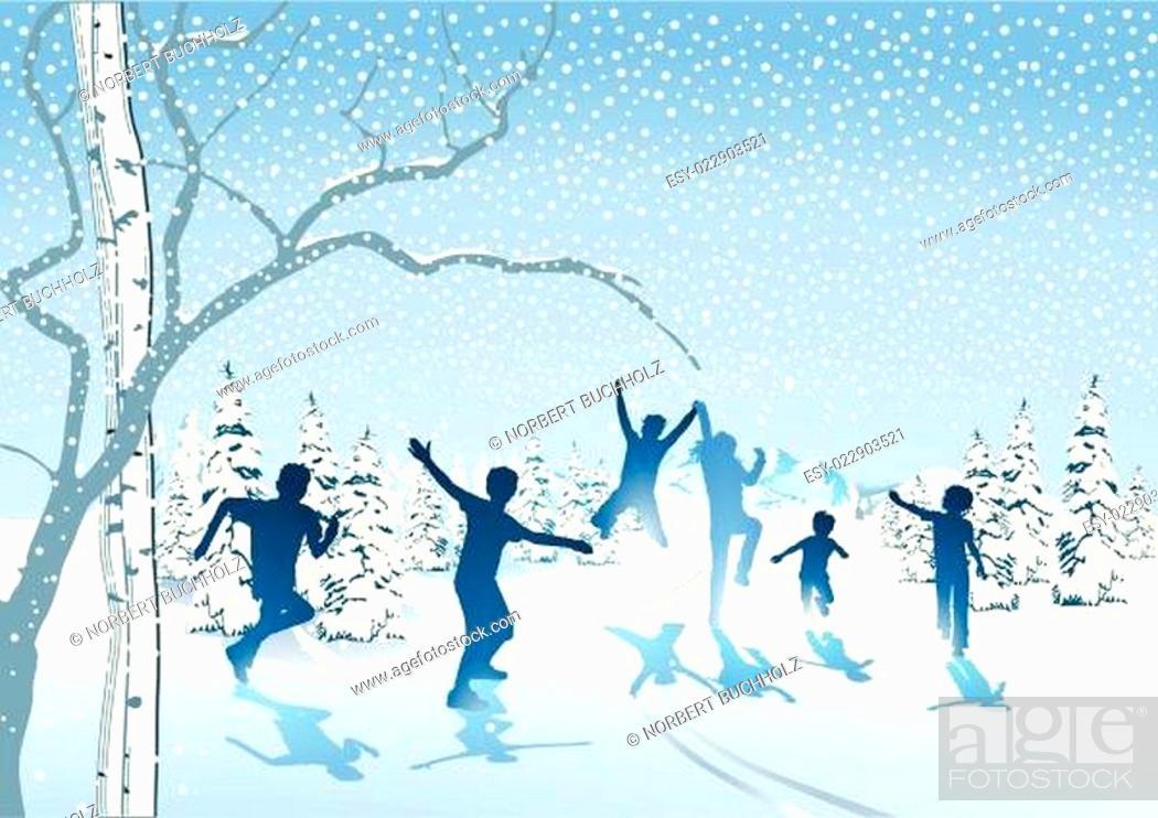 Stock Vector: Kinder toben im Schnee.