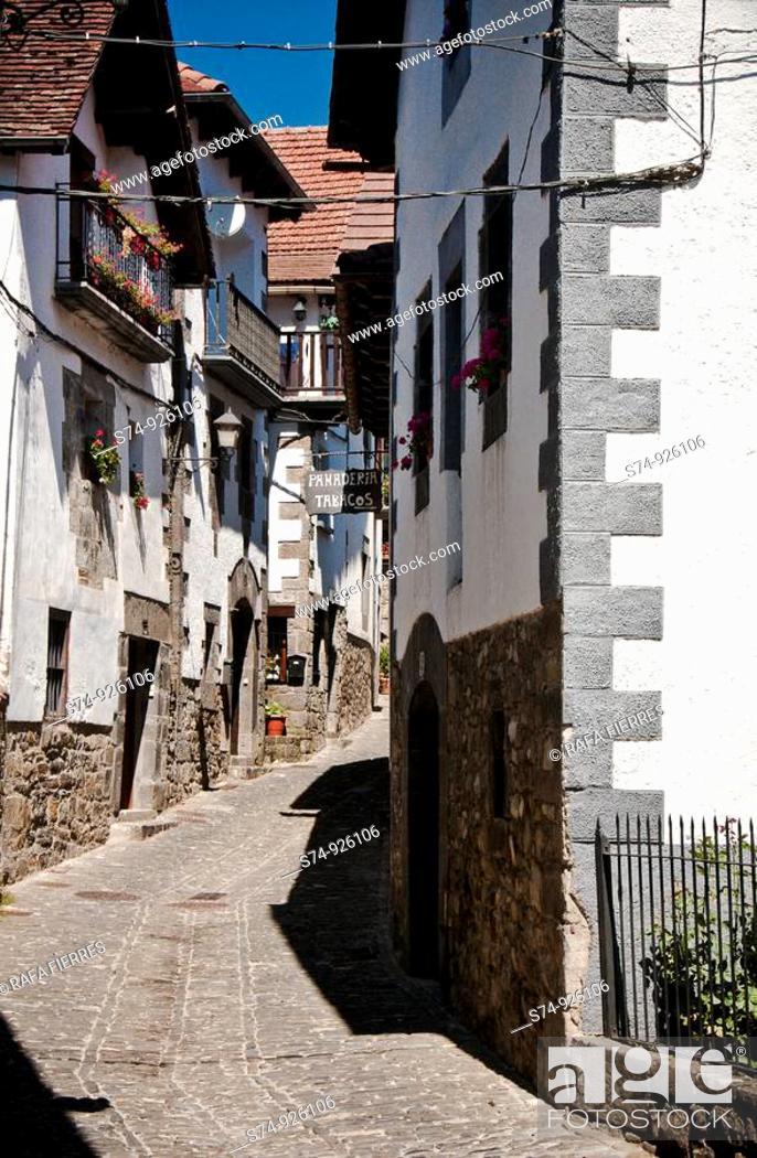 Stock Photo: Calle típica en Ochagavia(Otsagabia), Navarra, Spain.