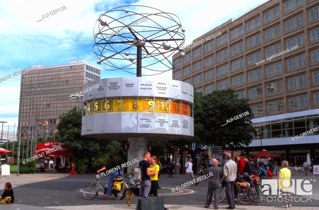 Stock Photo: Germany - Berlin - Alexanderplatz - Urania - Astronomical clock.