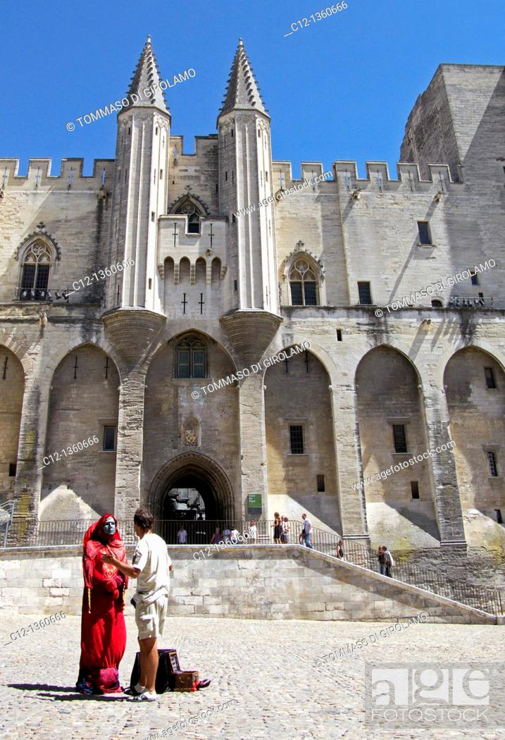 Stock Photo: France, Avignon, Palace of the Popes.