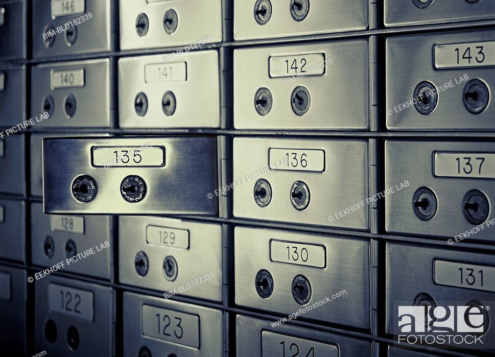 Stock Photo: Close up of opened safety deposit box.